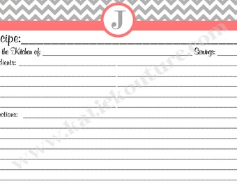 Personalized 10 Recipe Cards Gray and White Chevron Zigzag with your choice of color Trim 4x6 (3x5 by request)