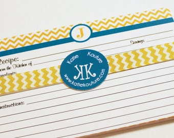 10 Recipe Cards Yellow and White Chevron Zigzag with your choice of color Trim 4x6 (3x5 by request)