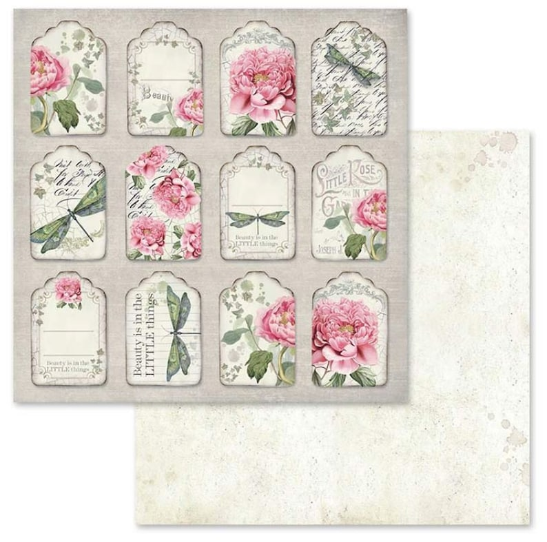 Mixed Media Cards Stamperia Letters and Flowers 12 x 12 Double Sided Scrapbook Paper 10 Pgs for Art Journals Scrapbooks