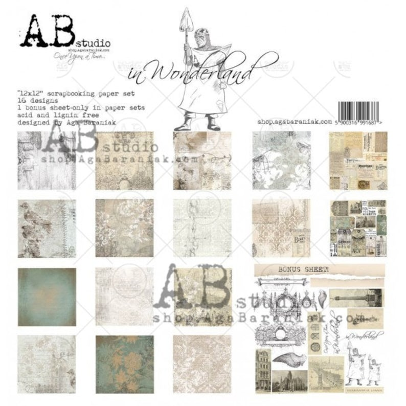 Cards AB Studios In Wonderland 12 x 12 Double Sided Scrapbook Paper 8 Pgs 16 Designs Scrapbooks Bonus for Art Journals Mixed Media