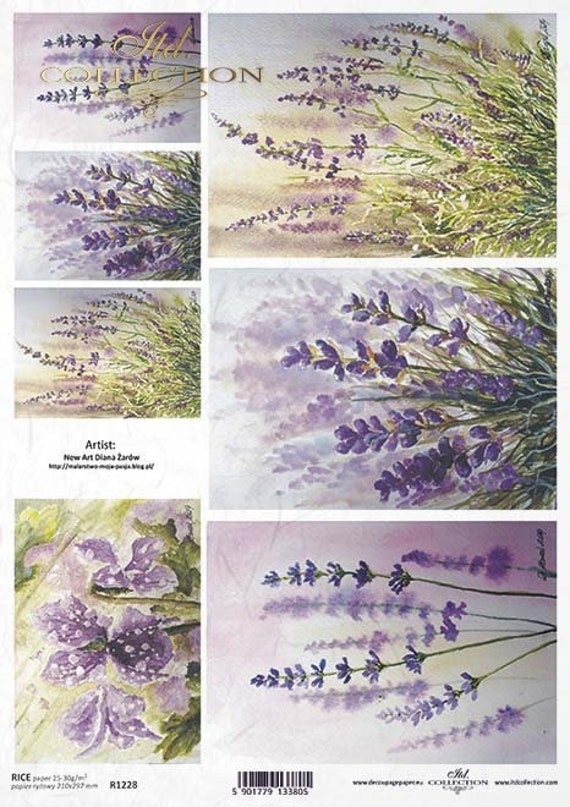 ITD Collection Pink and Lavender Birds Rice Paper Decoupage A4 for DIY Projects Art Journals Scrapbooking Collage R1387 Mixed Media