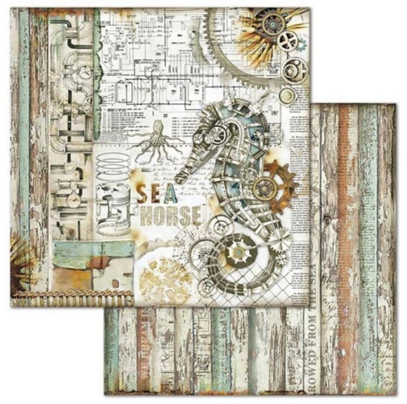 Stamperia Sea World 12 x 12 Double Sided Scrapbook Paper 10 Pgs for Art Journals Cards Scrapbooks Mixed Media