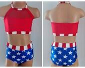 Patriotic Dance Costume. Dance Convention. Patriotic Cheerleading Costume. Dance Audition 2 Piece Set. Patriotic Swimsuit.
