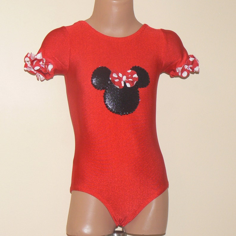 d7841b6aa Short Sleeve Leotard with Minnie Mouse Applique Gymnastics