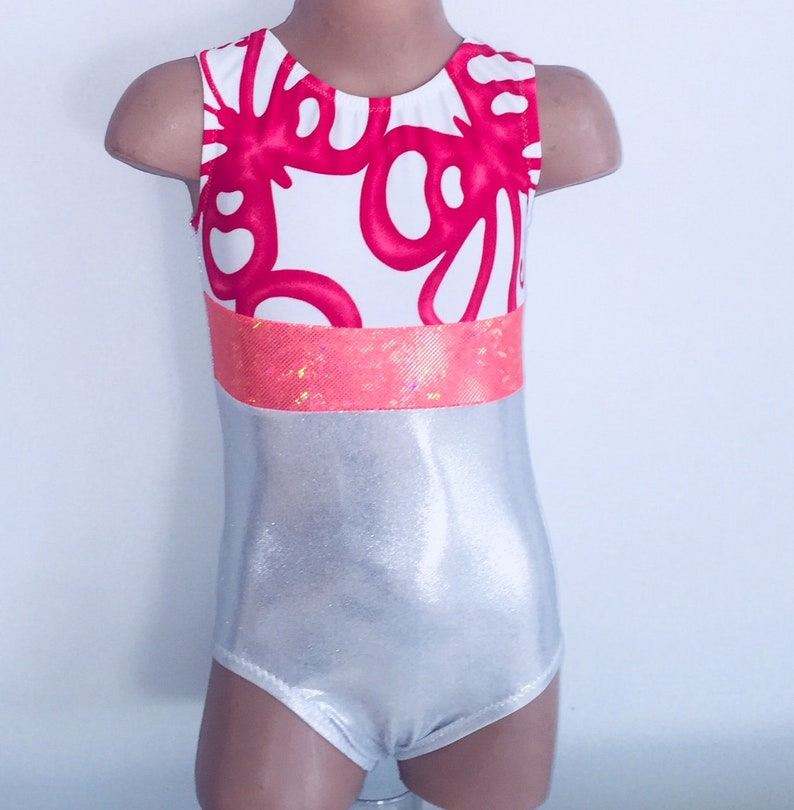 14361cb2b Gymnastic Leotard Leotard White with Printed Insert Toddlers