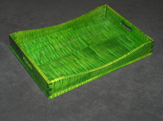 "12"" x 18"" Bright Green Tiger Maple Serving Tray"