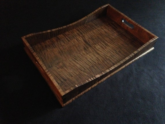 "12"" x 18"" Brown Tiger Maple Serving Tray"