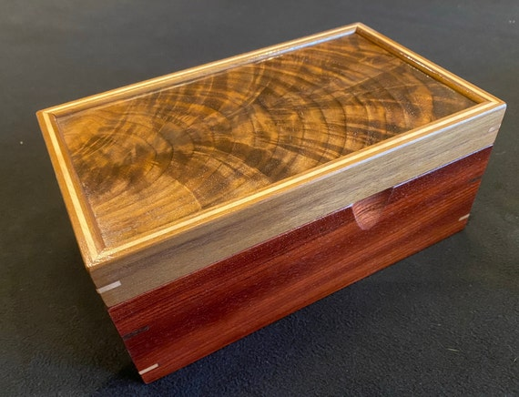 Desk Caddy - Curly Walnut and Jatoba Wood Box #121