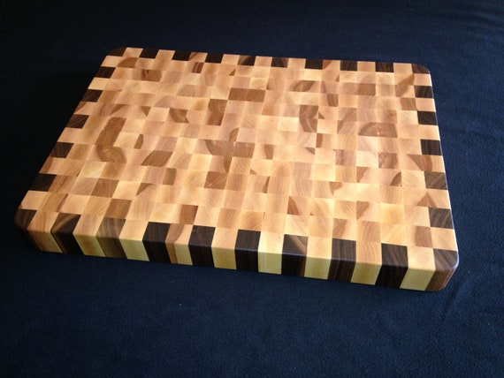 13 x 18 Birch & Walnut End Grain Cutting Board