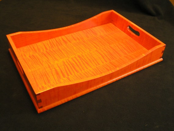 15 x 21 Fall Orange Tiger Maple Serving Tray