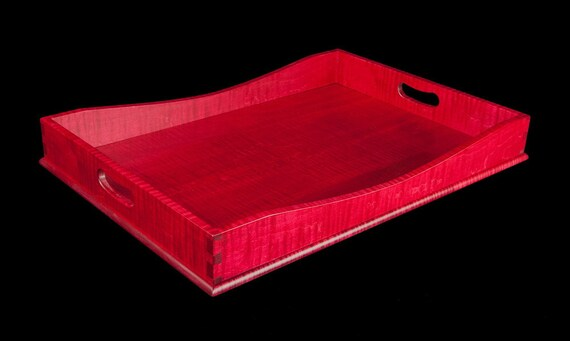 "15"" x 21"" Ruby Red Tiger Maple Serving Tray"
