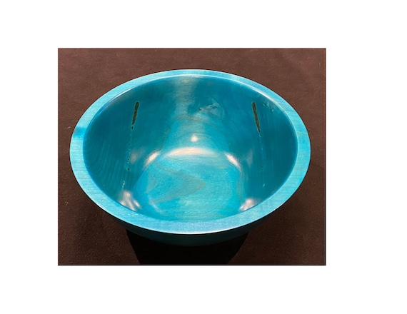 Maple Bowl #112 with Blue Dye