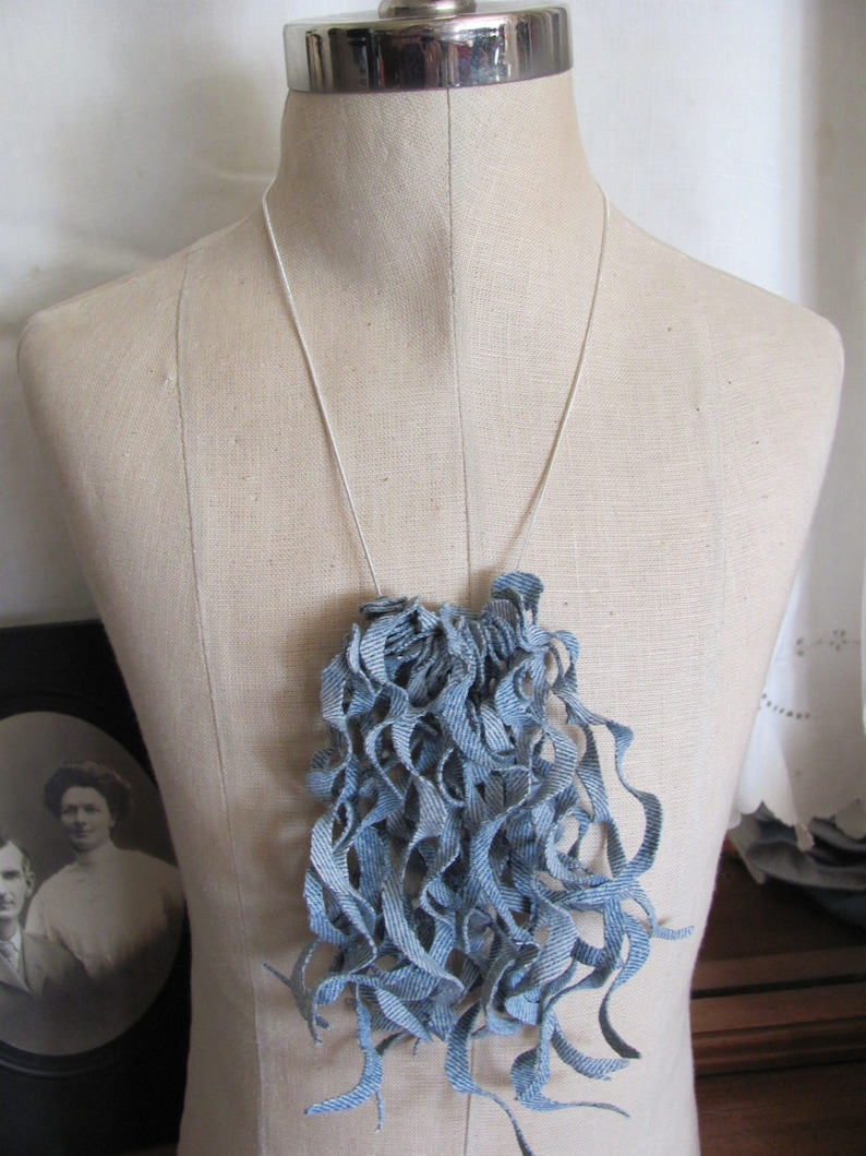 Beautiful Denim Curly Fringe Silver Bib Necklace  Many to choose from!