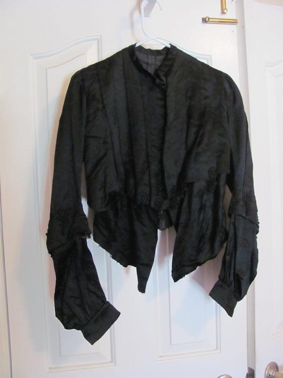 Antique Victorian Black Silk Mourning Jacket Coat