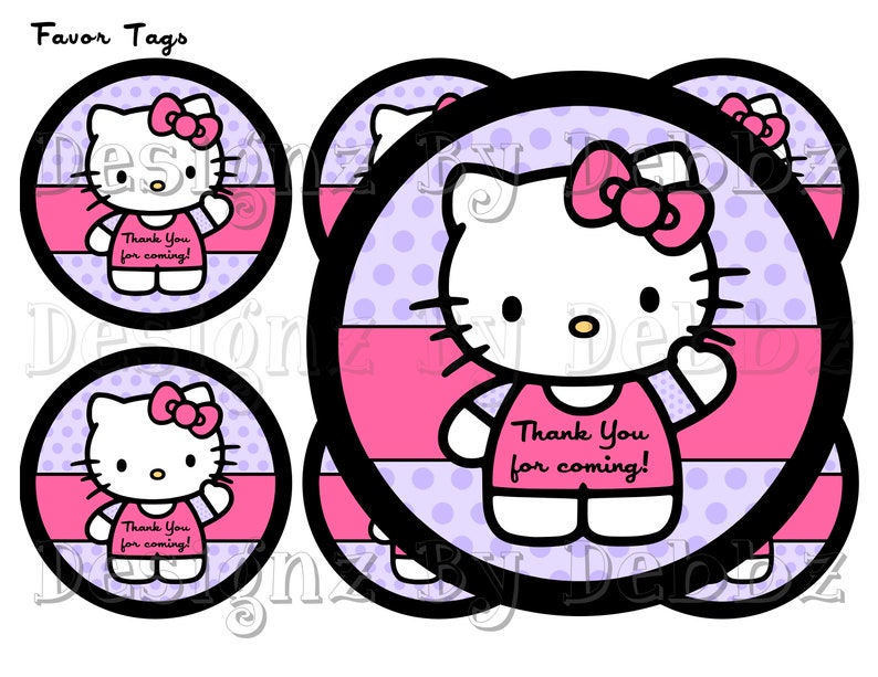 graphic regarding Kitty Printable titled Immediate Down load Hi there Kitty Printable Prefer Tags