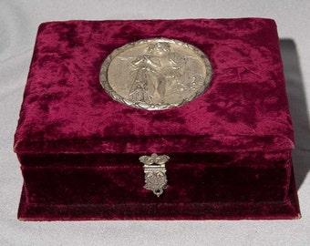 Victorian Thick Plush Velvet Jewelry Box W High Relief Silver Romantic Medallion