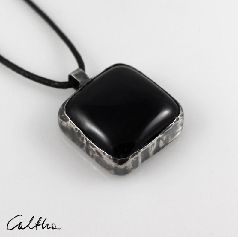 silver rustic boho pendant Black in silver minimalist jewellery for woman stained glass pendant in silverframe simple glass necklace