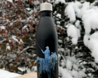 Painted Fly Fishing Water Bottle 25OZ