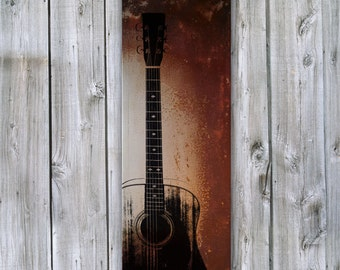 Guitar on Rusted Metal- FREE SHIPPING