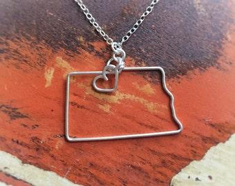 North Dakota Necklace - North Dakota State Necklace - North Dakota Charm - State Jewelry - Personalized Necklace - State Necklace
