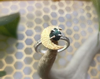 Crescent Moon + Raw Gemstone Ring - Brass & Sterling Silver - Choice of Raw Gemstone - Moon Ring - Crescent Moon Emerald Ring Festival Style