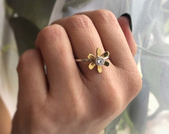Daisy Ring - Flower Ring with Stone - Sterling Silver and Brass Daisy Flower Ring with Tube Set CZ - Flower Child Ring - Flower Girl