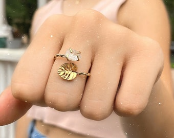 Monstera Leaf Ring with Gemstone - Monstera Bypass Ring - Silver Monstera Leaf Ring - Monstera Ring - Plant Lady Ring - Nature Ring