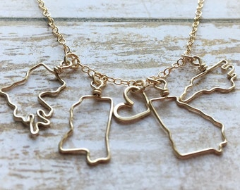 Two State Necklace - Friendship Necklace - Gift Personalized - Best Friend Necklace 2 State to State Necklace - Mother's Day Gift