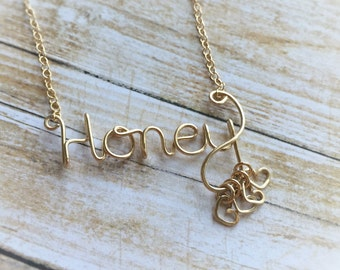 Personalized Gift for Mom or Grandma Necklace - Grandkids Necklace - Silver or Gold - Gift for Her - Honey Necklace