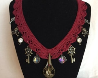 Burgundy Crocheted Victorian Bird Skull Necklace - Free SHIPPING and READY to GO