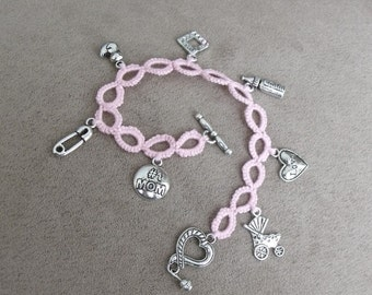 Hand Tatted Charm Bracelet - New Baby Girl
