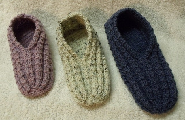 Easy To Knit Slippers Tutorial Knitting Pattern Kindle Etsy