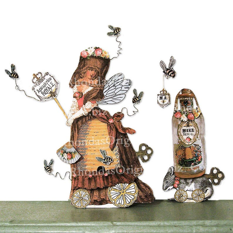 Paper Art Doll DIGITAL DOWNLOAD Beekeeper Paper Doll Party image 0
