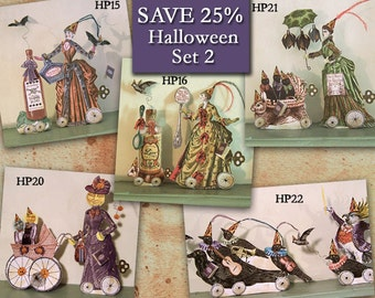 Victorian Halloween Paper Doll Printable Centerpiece Set - 3D Articulated Doll Digital Download - Altered Art Set of 5 - HP23H
