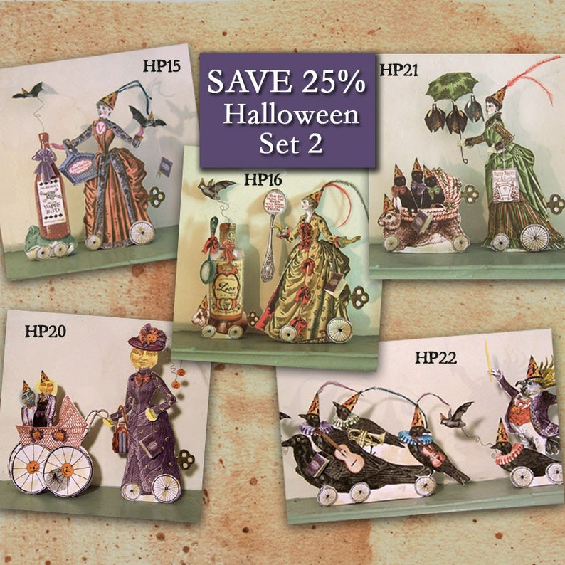 Digital Halloween Party Decor Paper Dolls  Digital Download  image 0