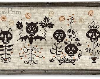 Halloween X-stitch PDF Chart - Spooky Cross Stitch - Black Cat, Cute Bat Skull PDF - Easy X-Stitch - Funny X-Stitch Pattern, Miss Prim MP18