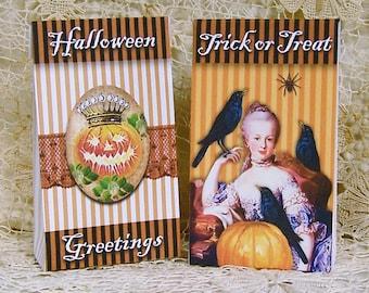 Halloween Treat Boxes - Mini Box - Boxes Digital - Marie Antoinette Printable Halloween Favor Bags CS62H