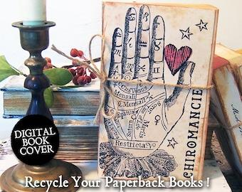 Halloween Clip Art - Vintage Digital Junk Journal Book Cover Download - Occult Books Palmistry, 4 Versions  CS81 BS