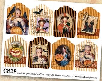 Halloween Collage Sheet - Halloween Clip Art - Marie Antoinette Clip Art Printables - Halloween Tags CS38H
