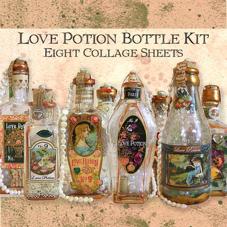 Love Potion Bottle Kit 8 Digital Collage Sheets Valentine image 0
