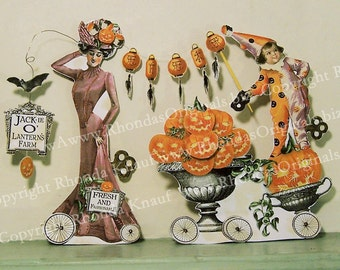 Halloween Decoration Paper Doll Digital Download - INSTANT Download - Steampunk Pumpkin Lady, Clown Girl  Paper Crafts HP29 H