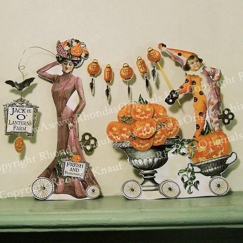 Halloween Paper Doll Digital Decoration INSTANT Download  image 0