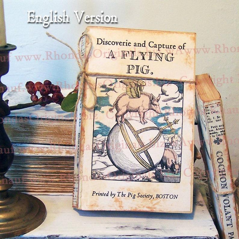 Flying Pig Book Cover Art  Pig Gift  Junk Journal Download  image 0