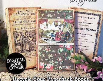 Valentine Book Stack, Digital Download Book Cover, Valentine's Day Victorian Romantic Images, Couple Clipart, Set of 3  CS120BS