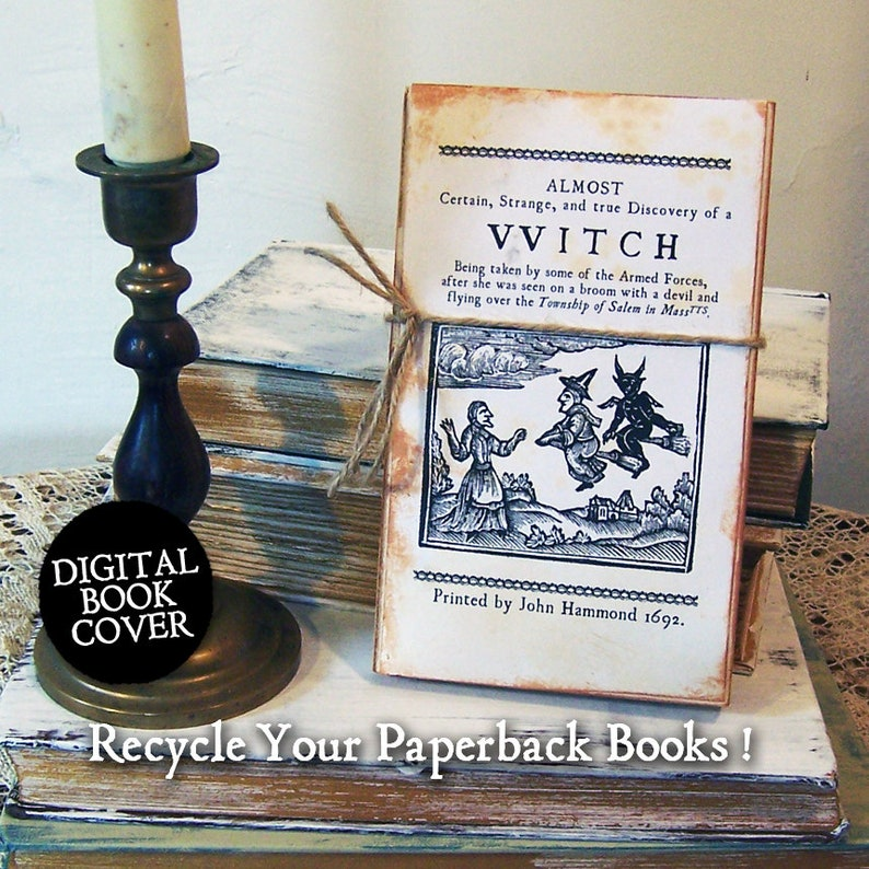 Witch Clipart  Witchcraft Book  Digital Book Cover Download image 0