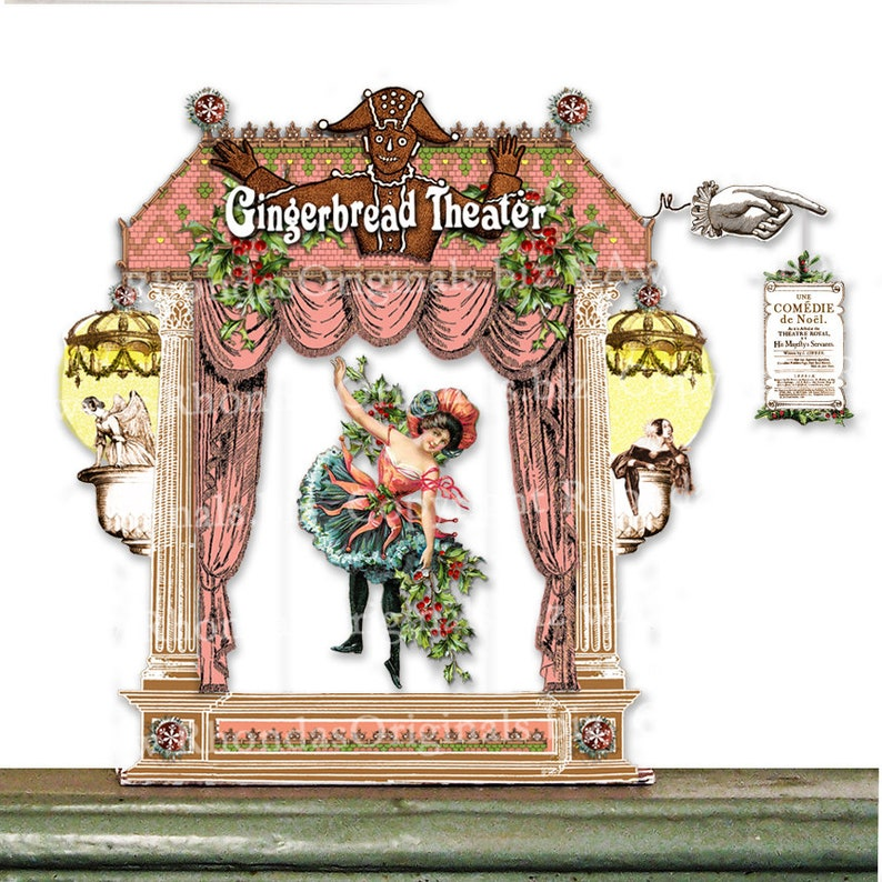 Printable Digital 3D Paper Theater  Christmas Gingerbread image 0