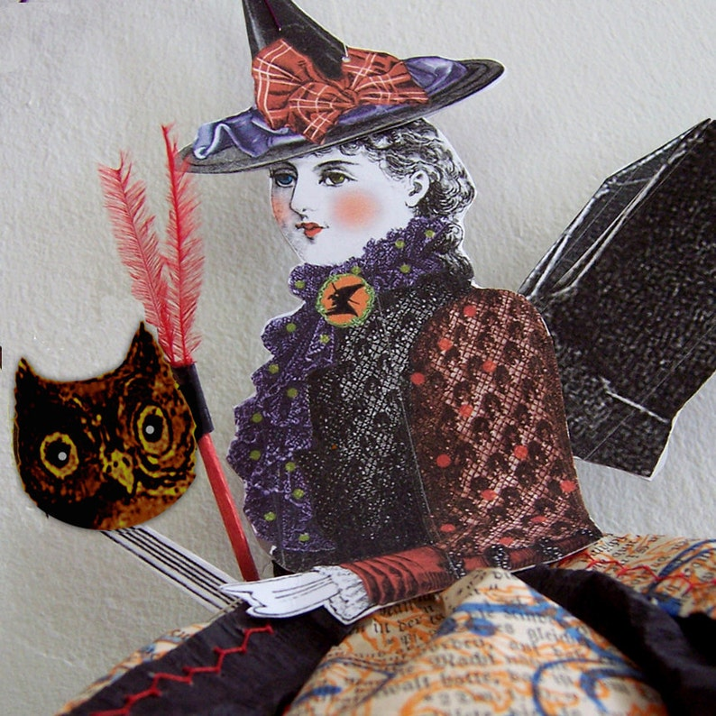 Witch Halloween Decoration  Hanging Bat Lady Paper Doll image 0