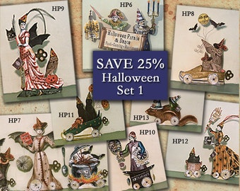 Steampunk Halloween Party Decorations - Victorian Paper Doll  - Articulated Doll Halloween Digital - Witch Clipart - Set of 8 HP14H