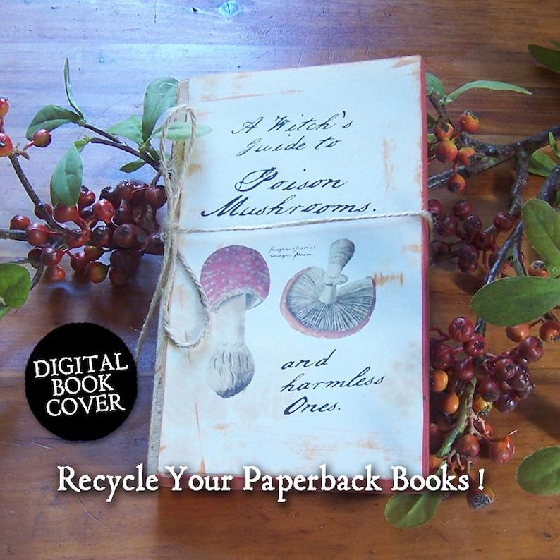 Halloween Clip Art Magic Mushroom  Vintage Digital Book Cover image 0