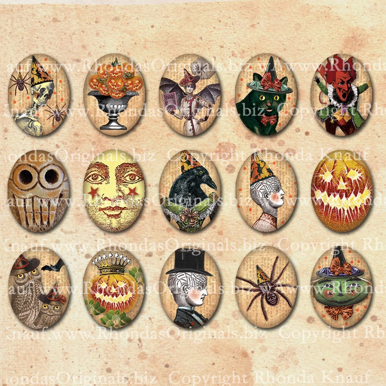 Halloween Oval Images  30x40 mm Graphics Digital Download For image 0